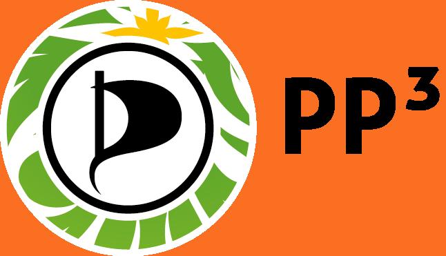 Logo der PP3-Konferenz, bestehend aus dem Piraten-Emblem mit einem grün-weiß-gelben Kranz