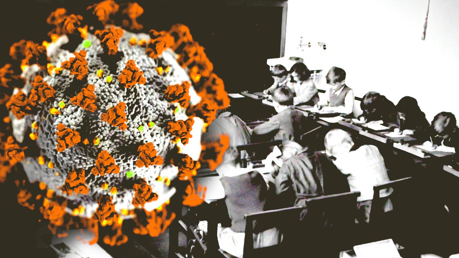 Auf dem Bild sieht man eine Schulklasse und ein Coronavirus