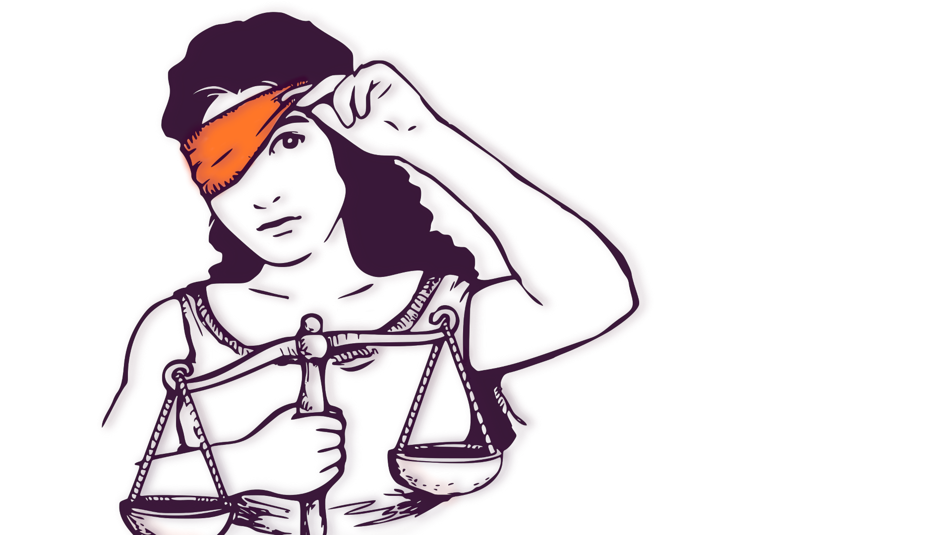 Auf den Bild sieht man Justizia mit Waag in der rechten Hand. Mit der Linken öffnet sie die Augenbinde.